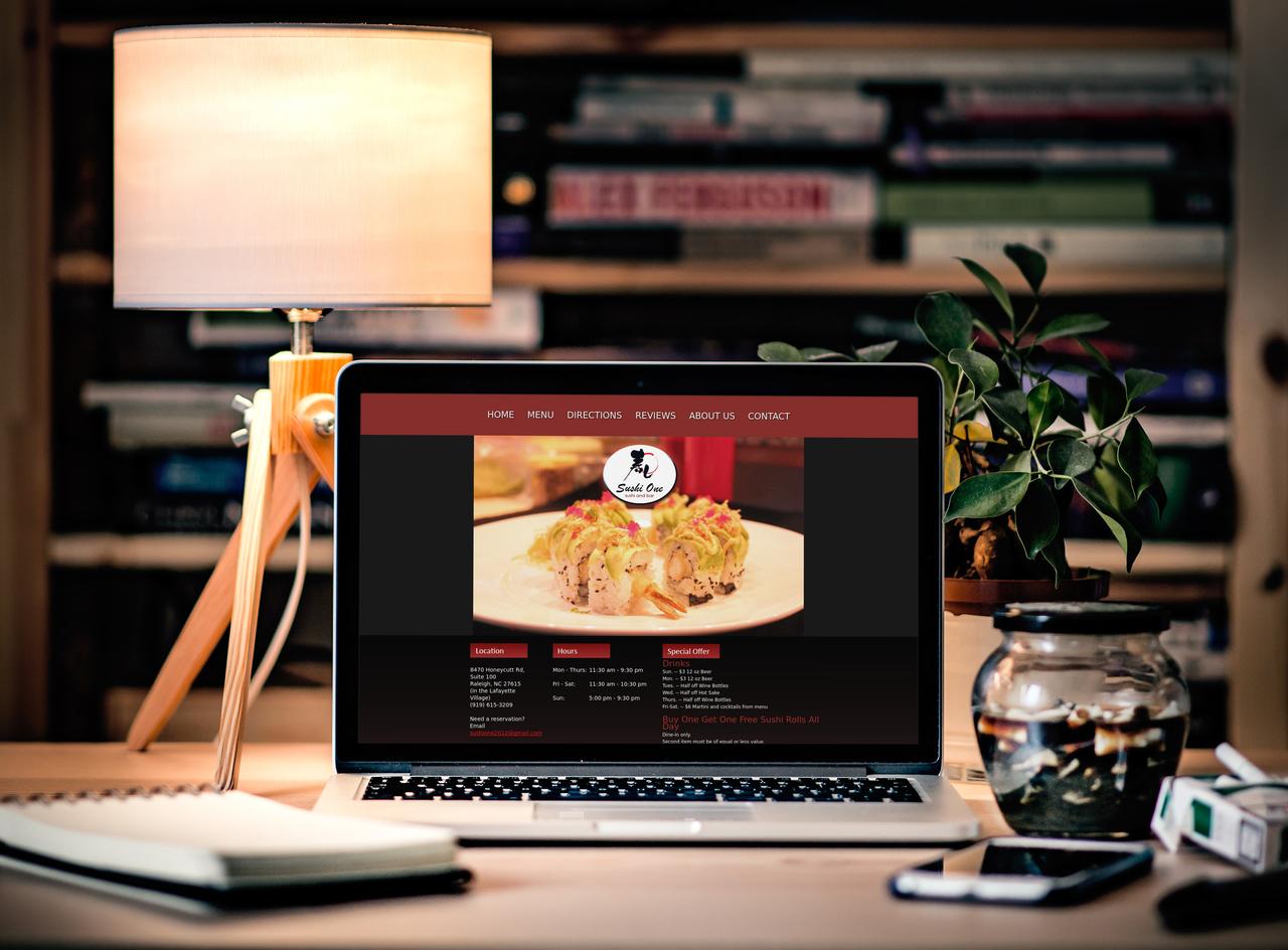 Sushi One Desktop View